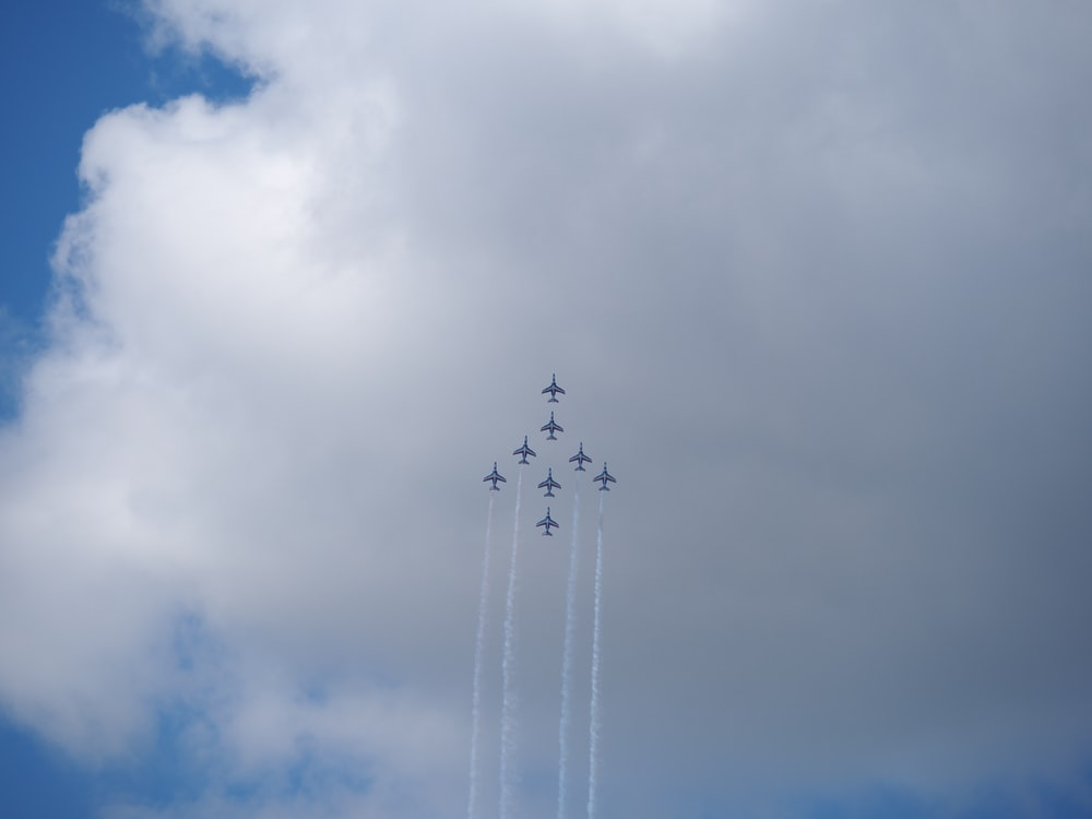 eight planes in aerial acrobatic show