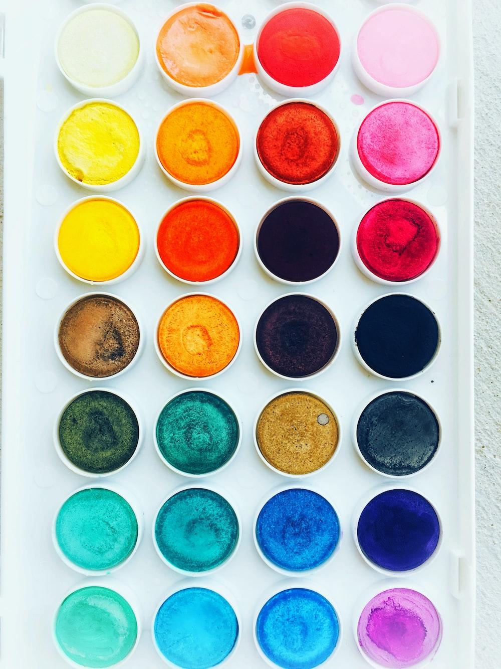 multicolored pastel paints lot