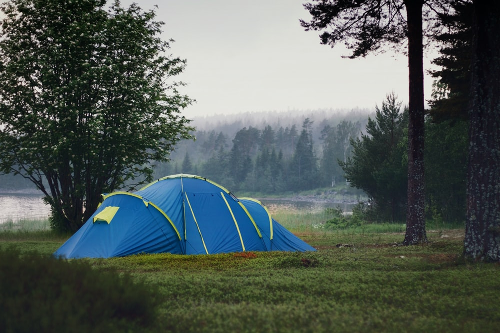 blue and yellow camping tent