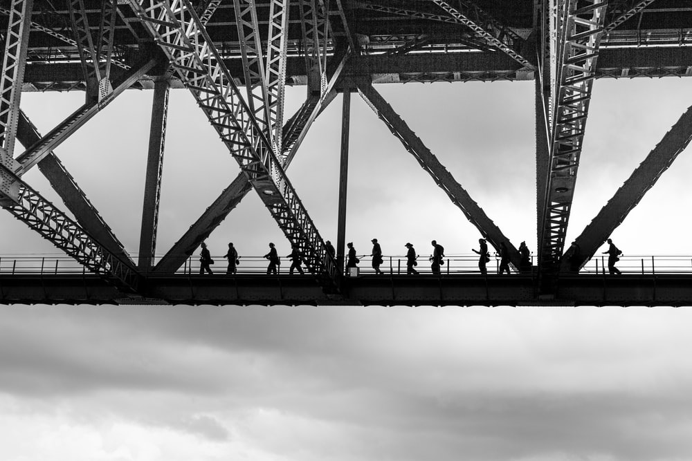 people walking on bridge