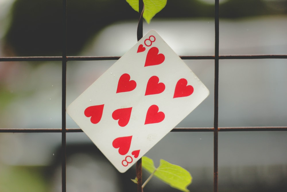 8 of hearts on metal screen
