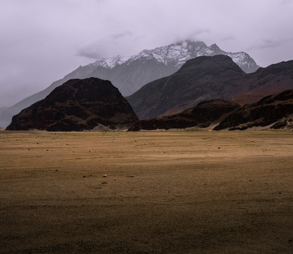 brown grass field and mountains