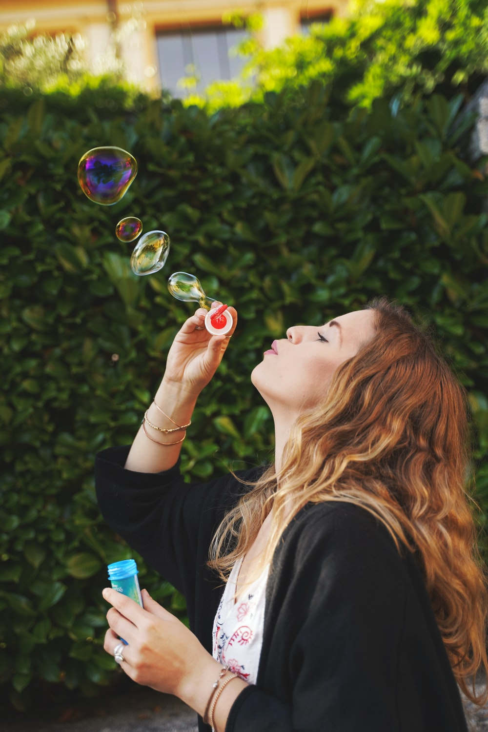 woman making bubbles