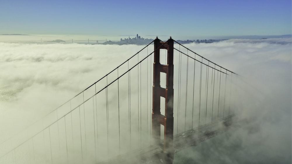 Golden Gate bridge covered in clouds