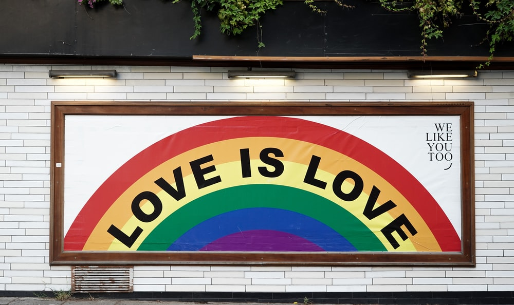 love is love wall art with brown wooden frame