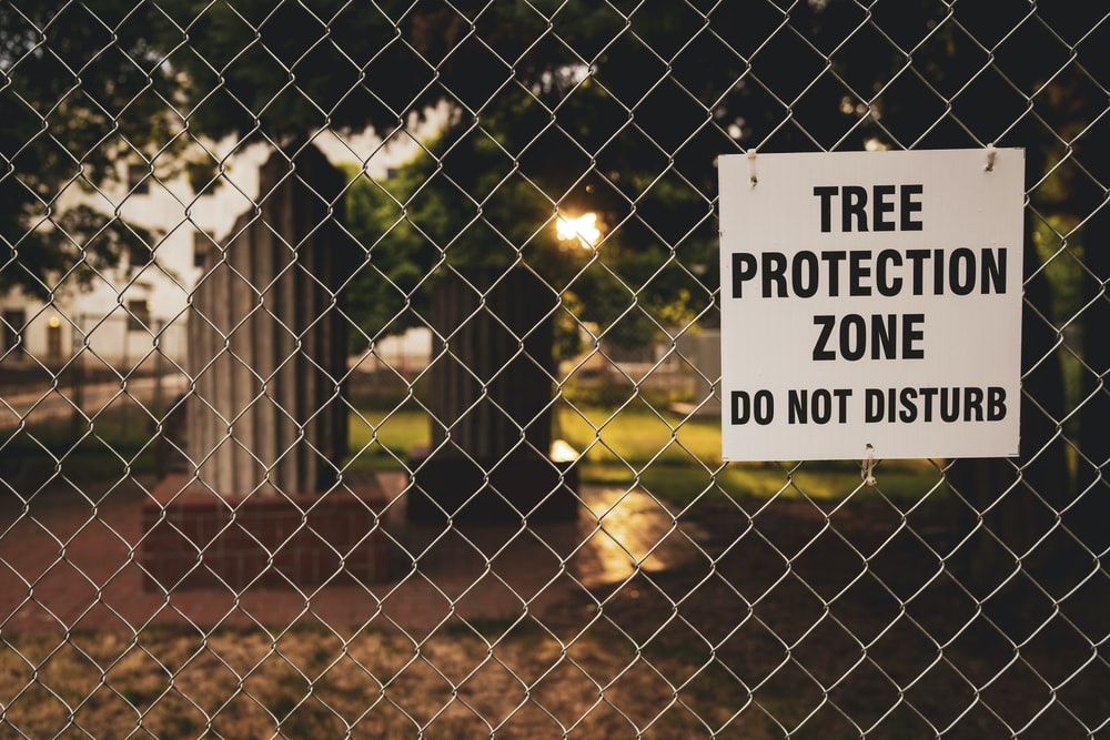 Tree Protection Zone board hanging on chain link fence