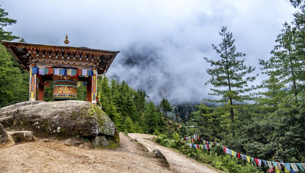 pagoda on rock near trees