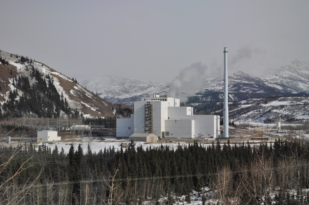 The Healy coal-fired power plant outside of Fairbanks seen from the Alaska Railroad Aurora Winter Train. This plant has been intermittently operational since its construction in 1997.