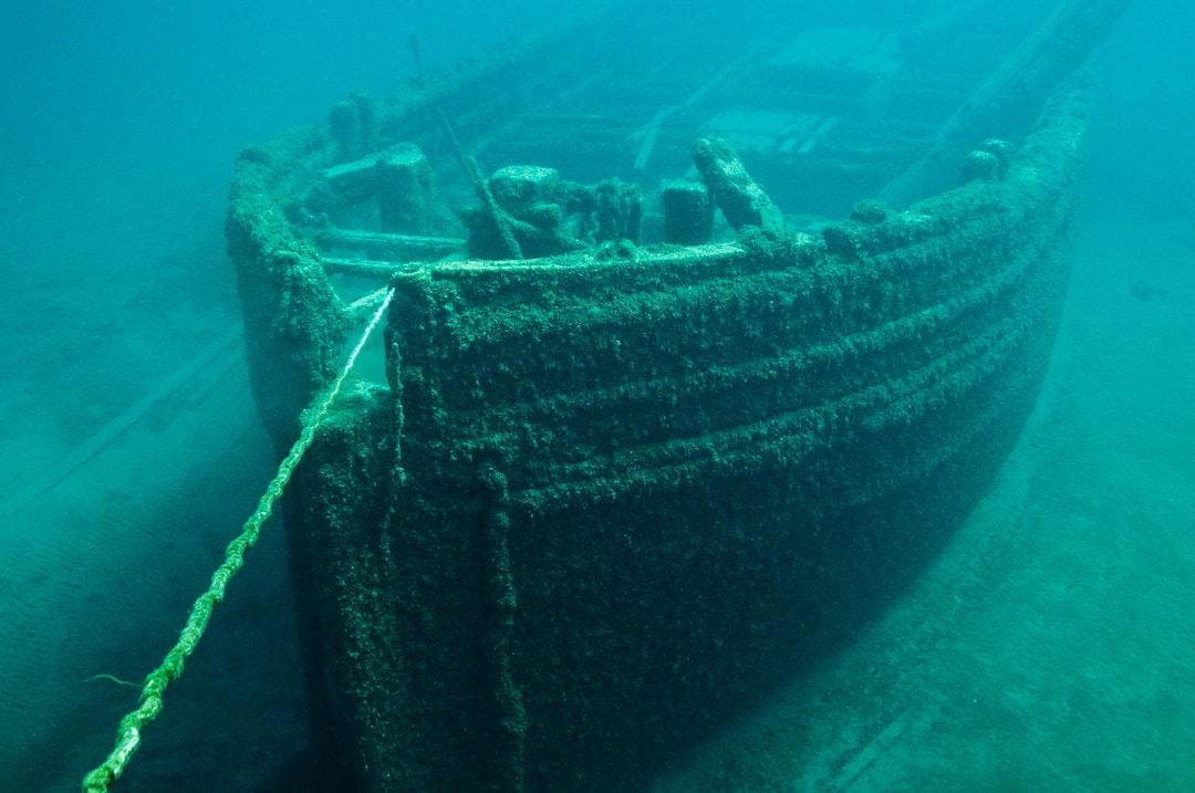 Shipwreck of the schooner E. B. Allen sunk by collision.