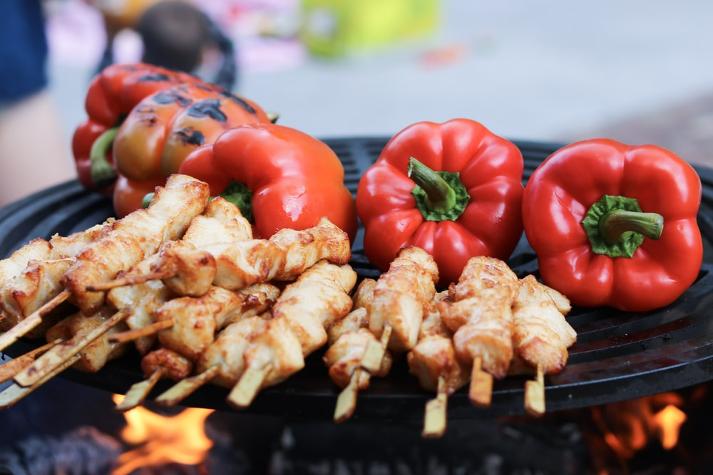 grilled pork and bell pepper