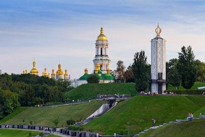 people walking near mosque ukraine zoom background