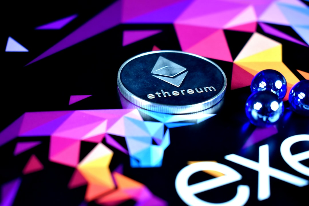 An Ethereum coin being approached by three blue balls.