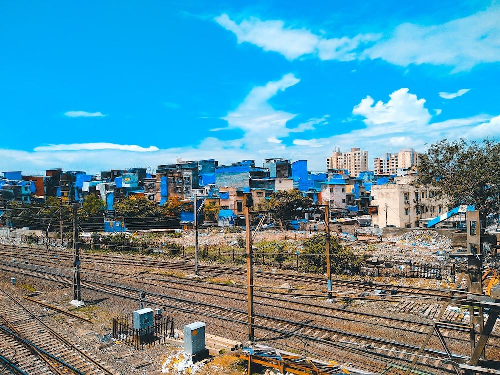 top view of train railings