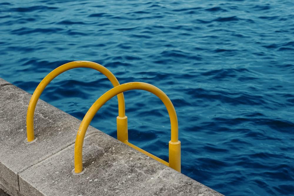 yellow pool ladder