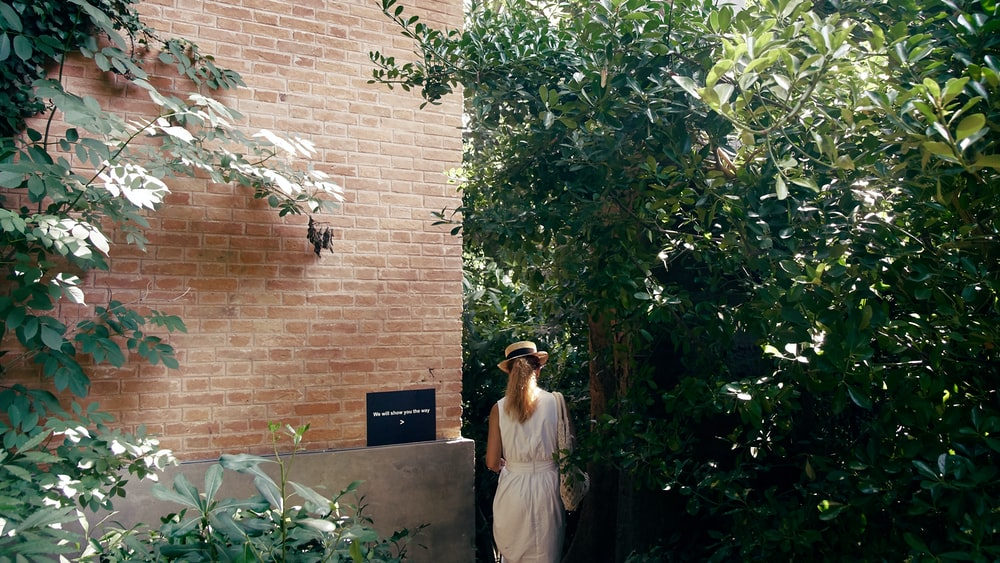 woman near plants