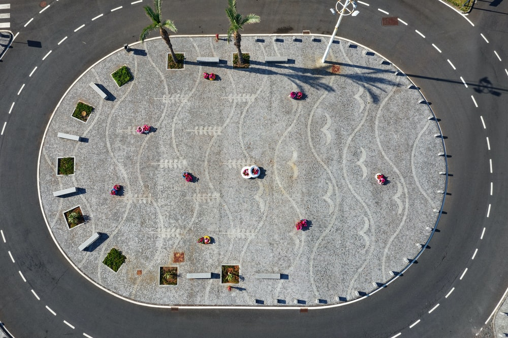aerial photography of car on road