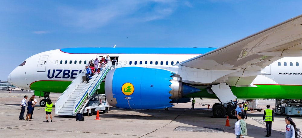 white and blue plane