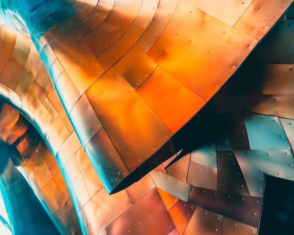 brown and teal metal panel
