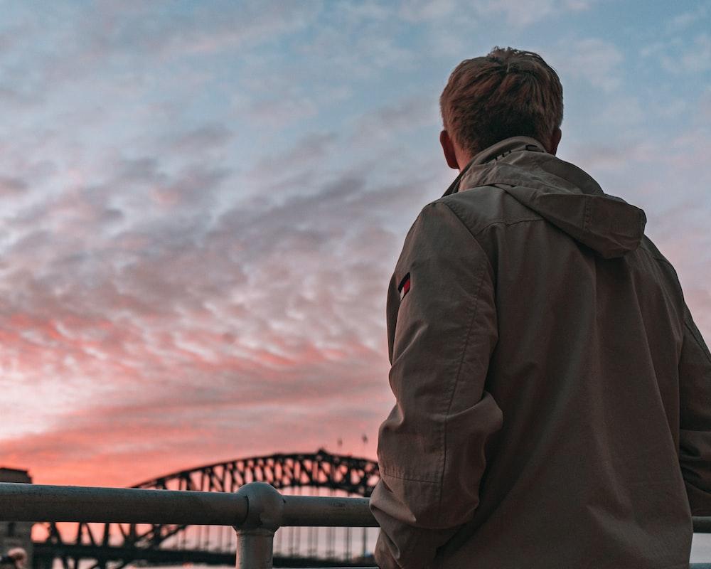man in gray jacket