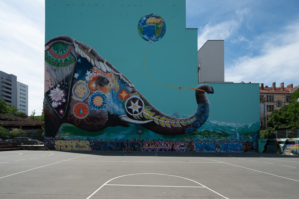 assorted-color elephant mural