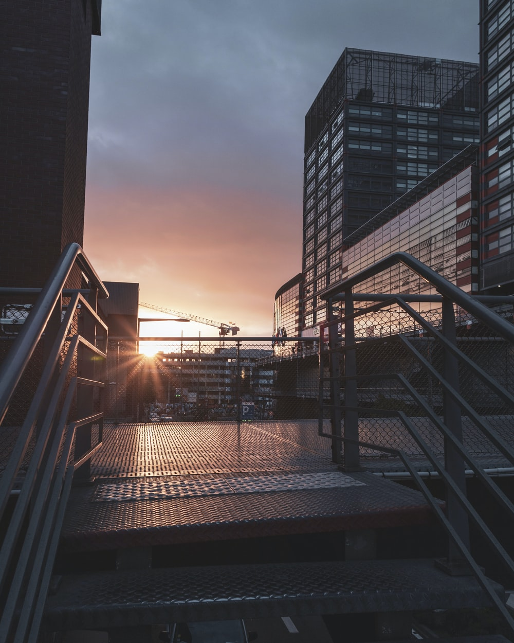 metal stairs near city
