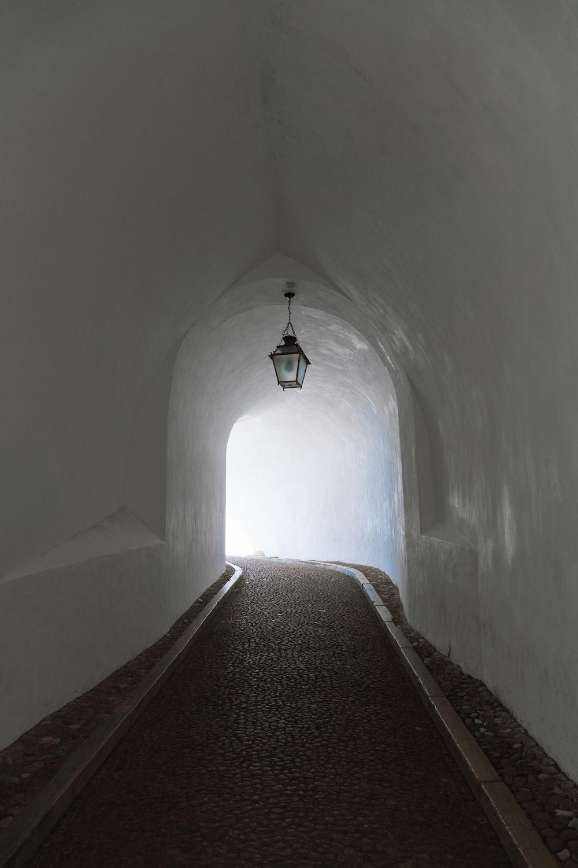 white concrete tunnel