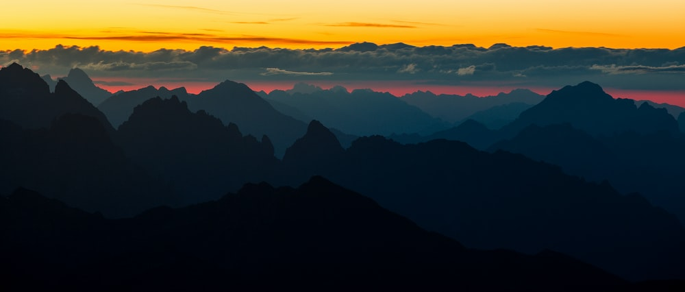 silhouette of mountain view