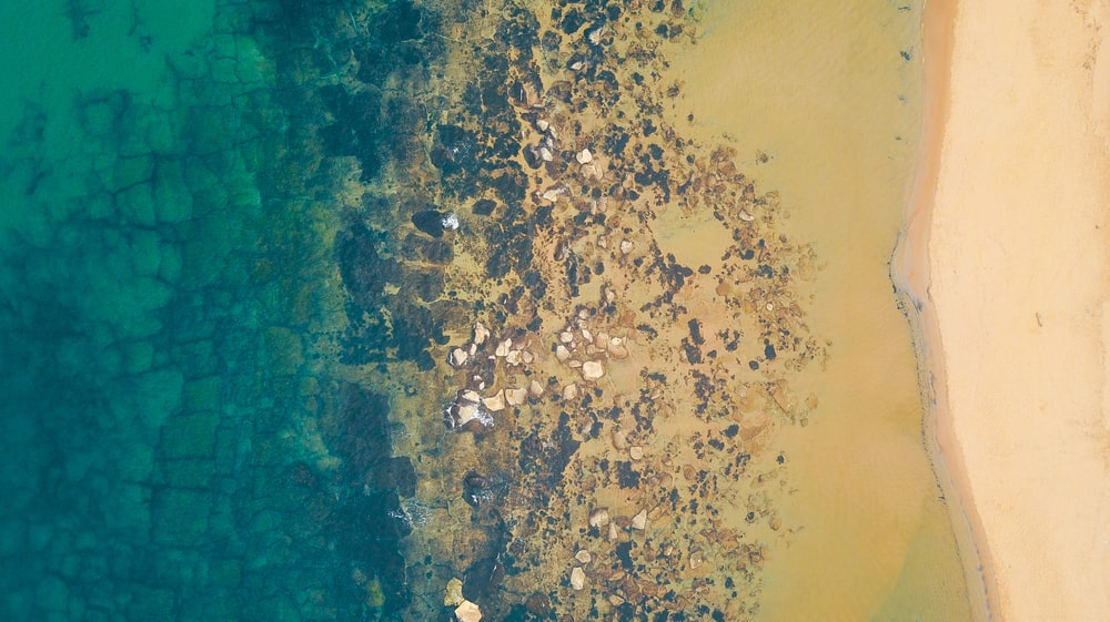 aerial photo of brown sand rocky beach