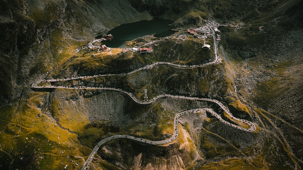 aerial photography of zig zag mountain road