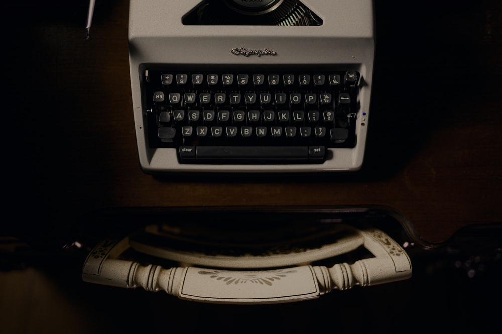 white and black typewriter