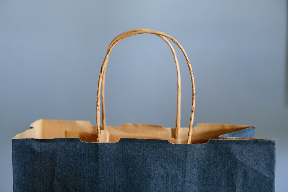 blue and brown tote bag