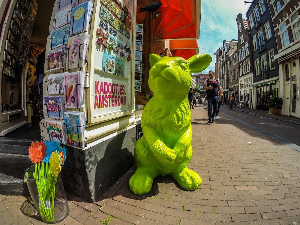 green rabbit statue