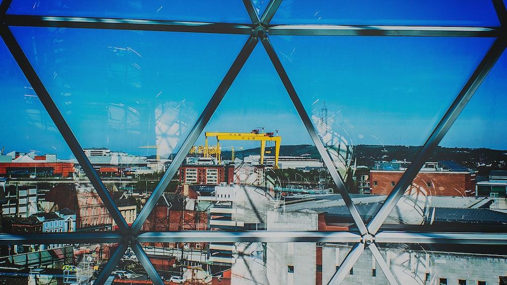 yellow dock cranes in horizon