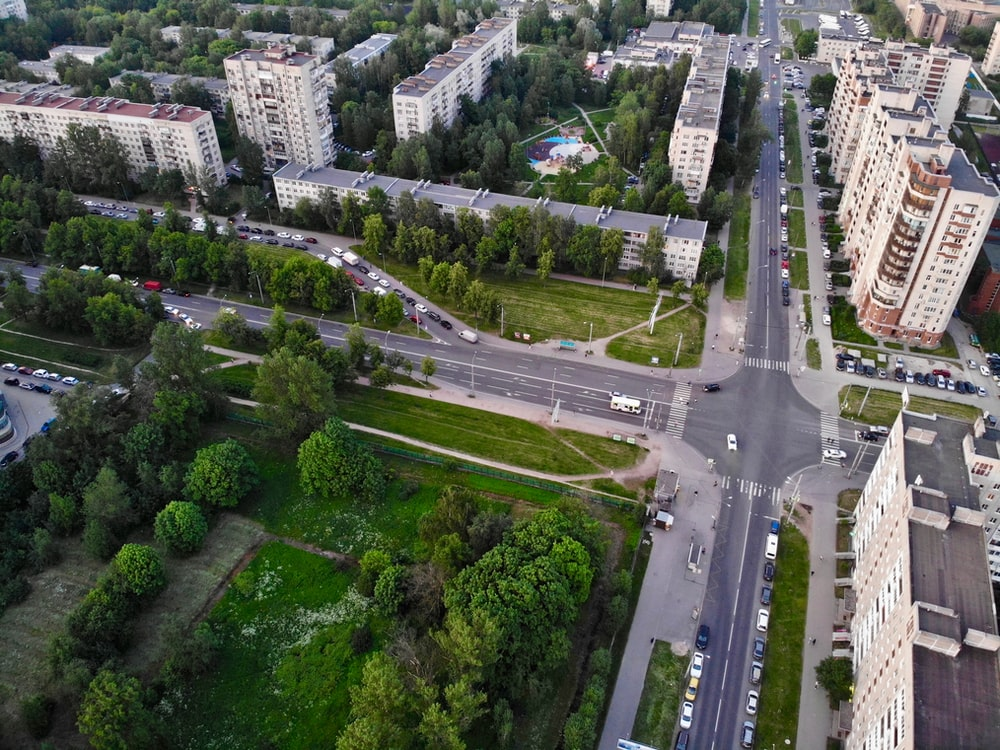 aerial photo of roads