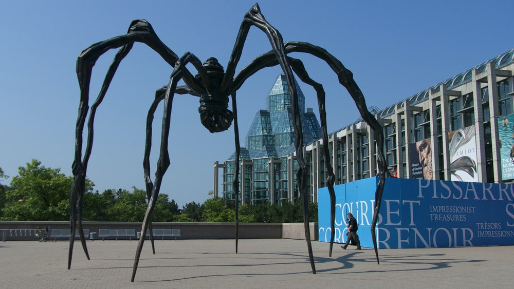 black spider statue