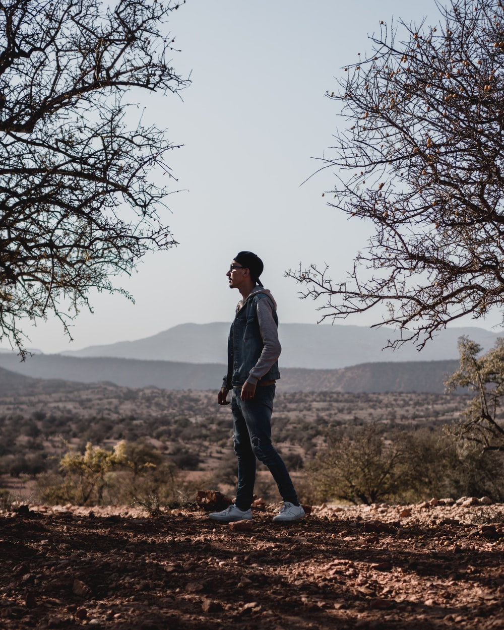 man wearing blue jeans standing between trees
