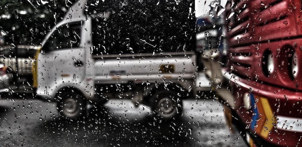 white drop-side truck