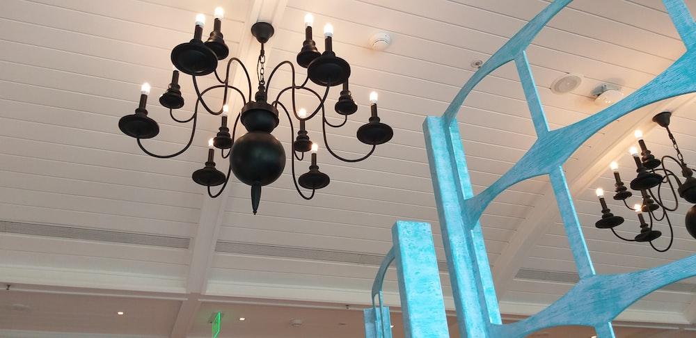 turned-on chandelier