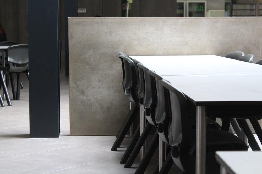 white wood-top table