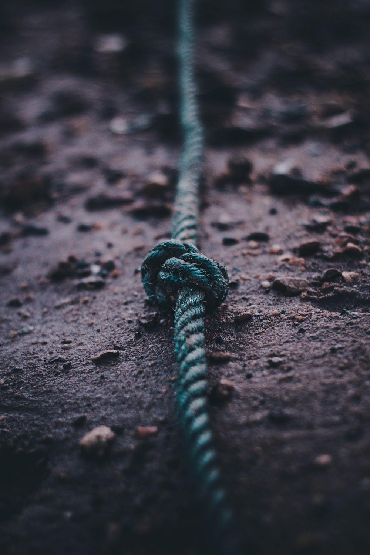 teal rope on soil