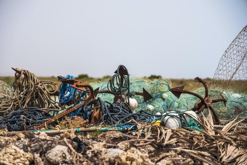 assorted trash in open field