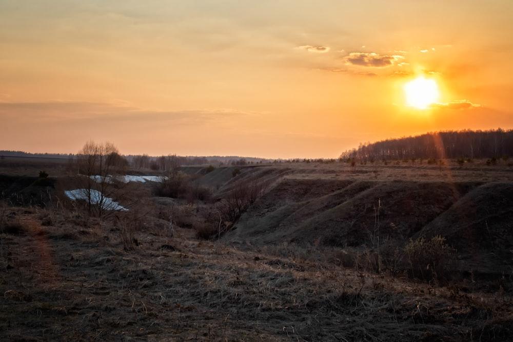 golden hour photo on mountain