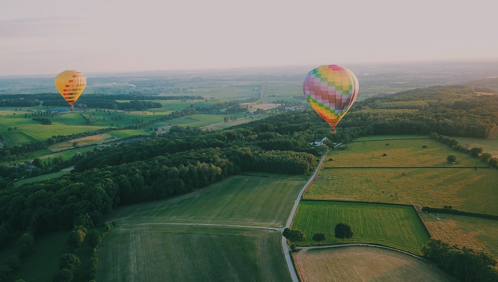 two assorted-color hot air balloons