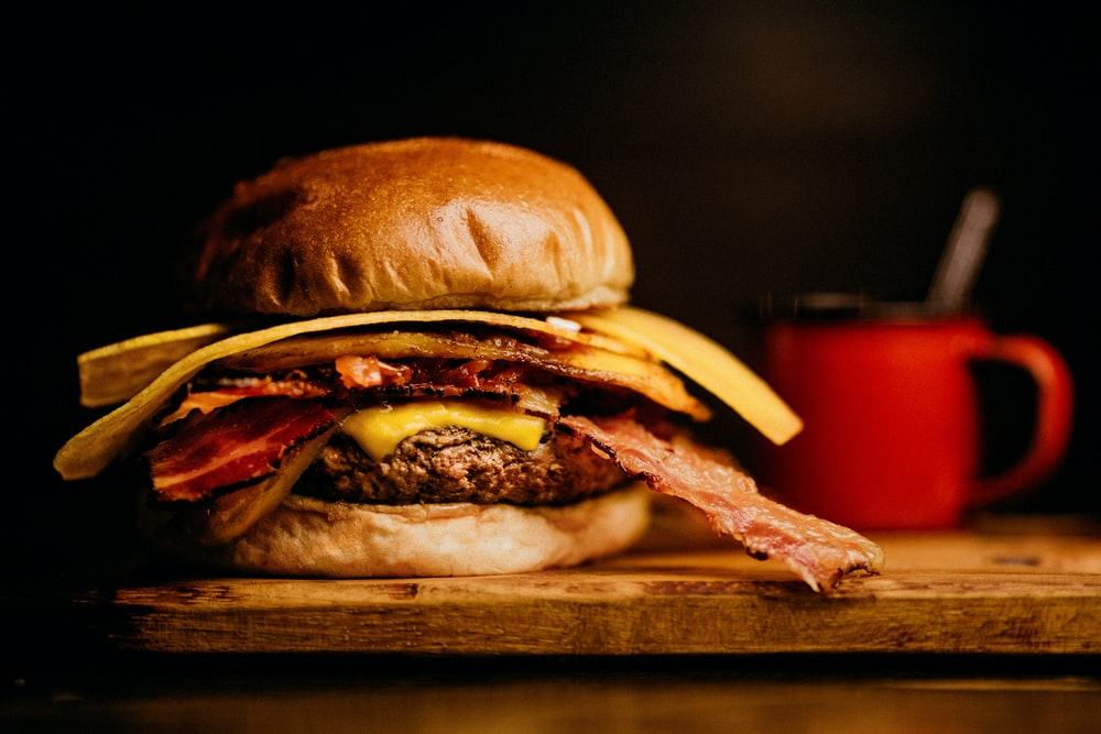 burger with patty, bacon and cheese