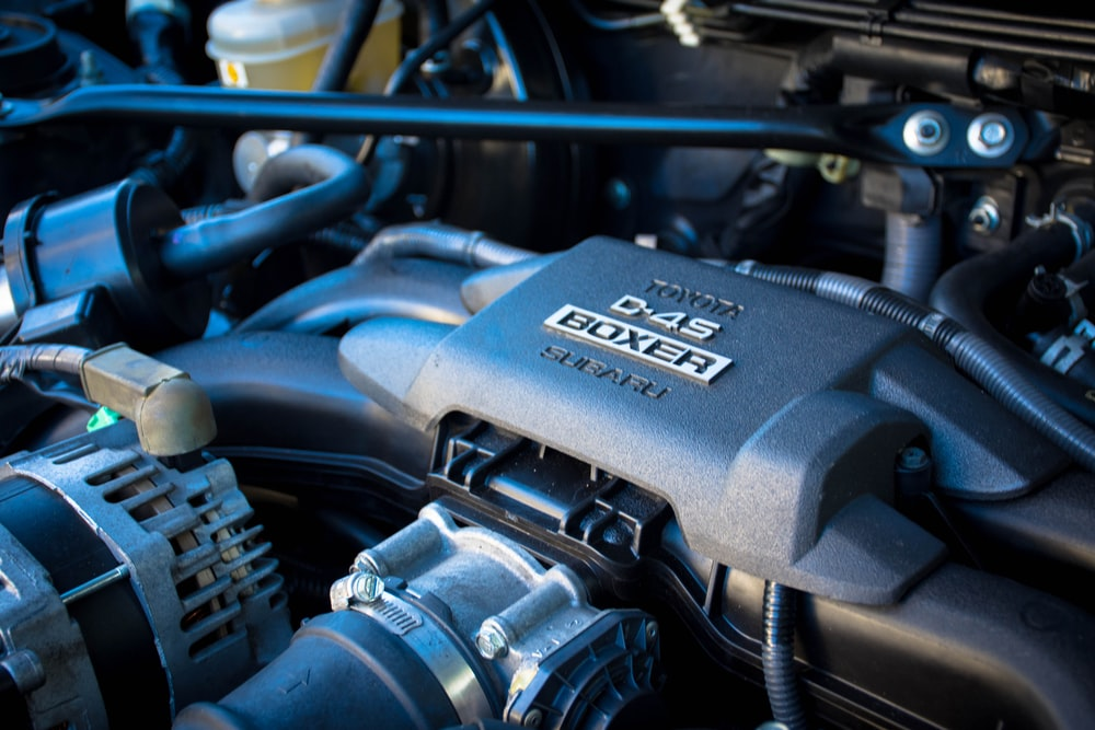gray and black Subaru vehicle engine interior