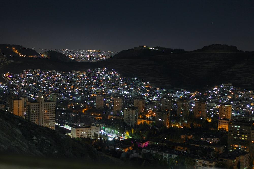 bird's eye view photography of city lights