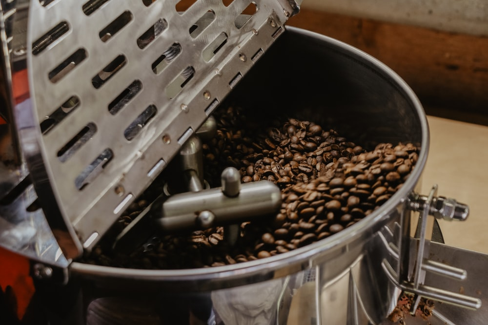 coffee beans in mixing machine