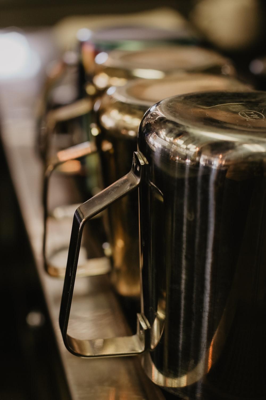 gray stainless steel mug