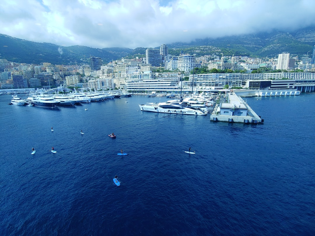 The beautiful port of Monte Carlo, Monaco and the big yachts seen from my cruise ship balcony.
