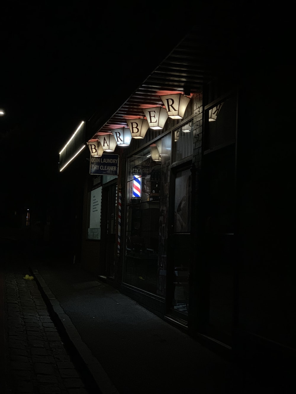barber shop during night time